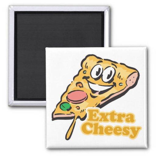 Extra Cheesy pizza slice Fridge Magnets