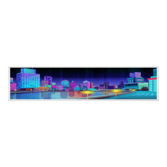 Extra Large City Night Scene Panoramic Art Poster