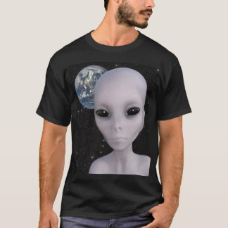 Extraterrestrial Alien With Earth In Background T-Shirt