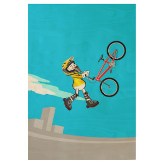 Extreme acrobatics in the air with bicycle BMX Wood Poster