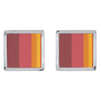 Extreme Autumn Coloured Cuff-links Silver Finish Cufflinks