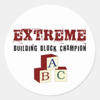 Extreme Baby Building blocks Champion Classic Round Sticker
