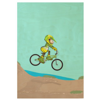 Extreme bicycle BMX conquering all land Wood Poster