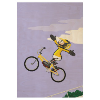 Extreme bicycle BMX impelling itself to the space Wood Poster