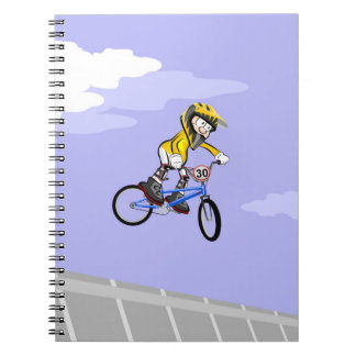 Extreme bicycle BMX pirouettes in the air Notebook
