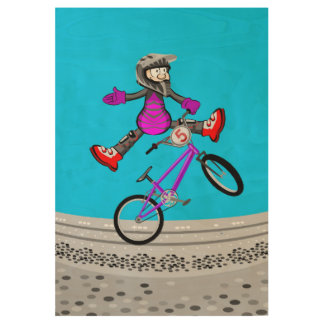 Extreme bicycle BMX riding in the air Wood Poster