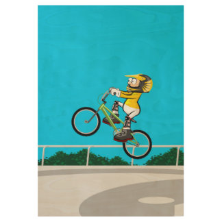 Extreme BMX in the bicycle taking impulse Wood Poster