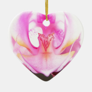extreme close up of the inside of an orchid flower ceramic ornament