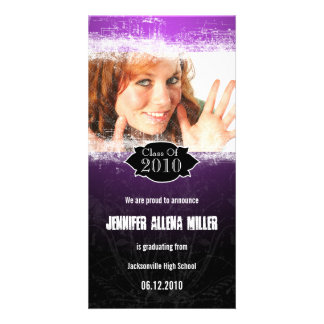 Extreme Grunge Purple Black Graduation Photo Card