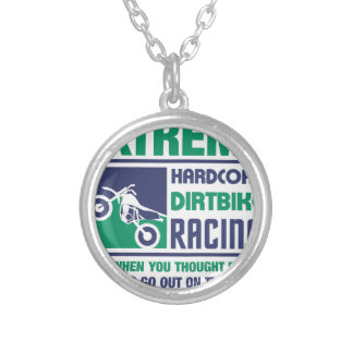 Extreme Hardcore Dirtbike Racing Silver Plated Necklace