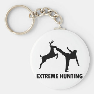Extreme Hunting Deer Karate Kick Basic Round Button Key Ring