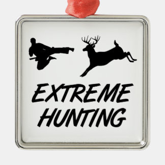 Extreme Hunting Karate Kick Deer Metal Ornament