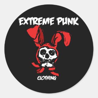 Extreme Punk Rabbit Skull Round Sticker
