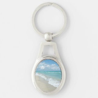Extreme Relaxation Beach View Silver-Colored Oval Key Ring