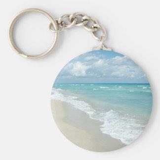 Extreme Relaxation Beach View White Sand Basic Round Button Key Ring