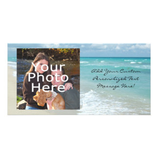 Extreme Relaxation Beach View White Sand Customised Photo Card