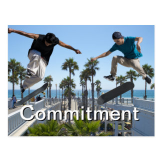 Extreme Skateboarding Commitment Card Postcard