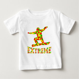 EXTREME SNOWBOARDER IN RED, GREEN, AND YELLOW CAMO BABY T-Shirt