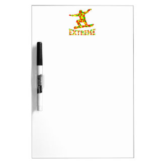 EXTREME SNOWBOARDER IN RED, GREEN, AND YELLOW CAMO DRY ERASE BOARD