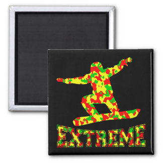 EXTREME SNOWBOARDER IN RED, GREEN, AND YELLOW CAMO MAGNET