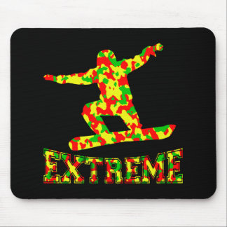 EXTREME SNOWBOARDER IN RED, GREEN, AND YELLOW CAMO MOUSE PAD