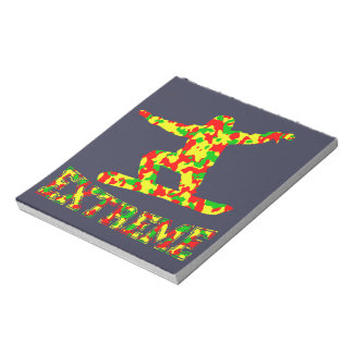 EXTREME SNOWBOARDER IN RED, GREEN, AND YELLOW CAMO NOTEPAD