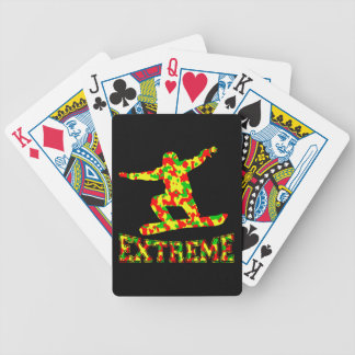 EXTREME SNOWBOARDER IN RED, GREEN, AND YELLOW CAMO POKER DECK