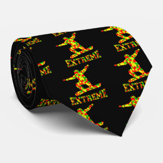 EXTREME SNOWBOARDER IN RED, GREEN, AND YELLOW CAMO TIE