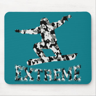 EXTREME SNOWBOARDER IN URBAN CAMO MOUSE PAD