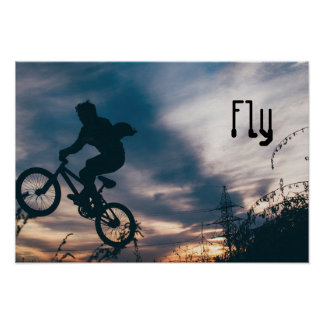 Extreme Sports Poster:Guy on Bike doing Tricks FLY Poster