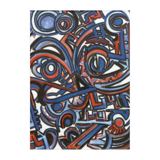 Exuberant Singing-Hand Painted Abstract Geometric Acrylic Wall Art