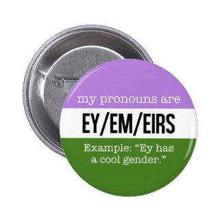 Ey/Em Pronouns –Genderqueer Flag 6 Cm Round Badge