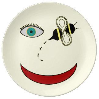 Eye Bee Happy Porcelain Plate