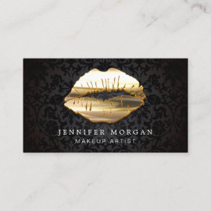Makeup artist business cards zazzle au eye catching 3d black gold lips makeup artist business card reheart Image collections