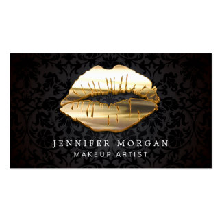Eye Catching 3D Black Gold Lips Makeup Artist Pack Of Standard Business Cards