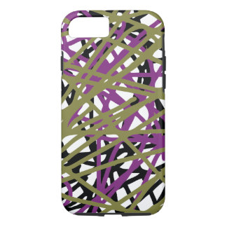 Eye Catching Abstract Lines, Purple, Gold, & Black iPhone 7 Case