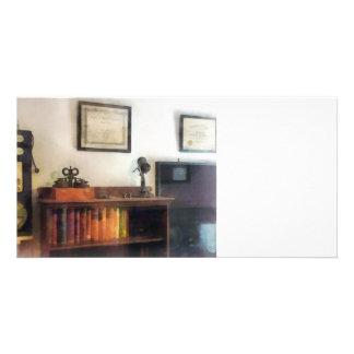 Eye Doctor's Office With Diploma Custom Photo Card