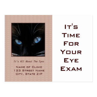 Eye Exam Appointment Reminder Blue Cat Eyes Postcards