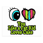 Eye Heart I Love You Like a Fat Kid Loves Cake Post Cards
