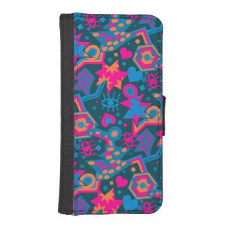 Eye heart pop art cool bright pink  pattern iPhone SE/5/5s wallet case