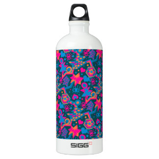 Eye heart pop art cool bright pink  pattern SIGG traveller 1.0L water bottle