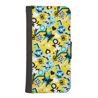 Eye heart pop art cool bright yellow pattern iPhone SE/5/5s wallet case