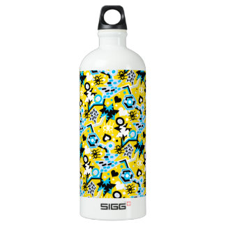 Eye heart pop art cool bright yellow pattern SIGG traveller 1.0L water bottle