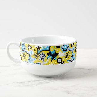 Eye heart pop art cool bright yellow pattern soup mug