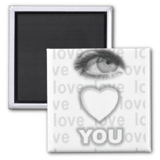 eye heart you square magnet