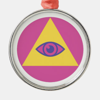 Eye In Pyramid Silver-Colored Round Decoration