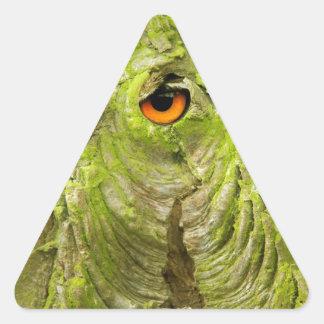 Eye in the Tree Bark Triangle Sticker