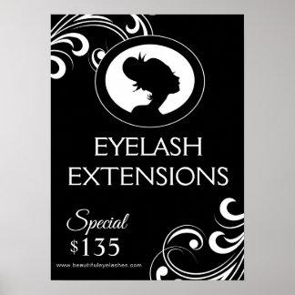 EYE LASH EXTENSIONS Salon Black & White Poster
