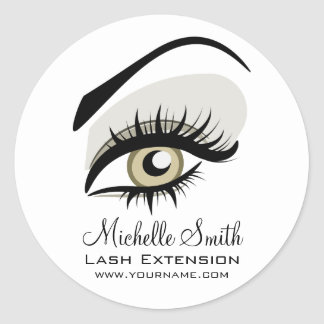 Eye long lashes Lash Extension company branding Round Sticker