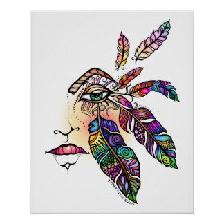 EYE Love FEATHERS Fantasy Art 16x20 Poster